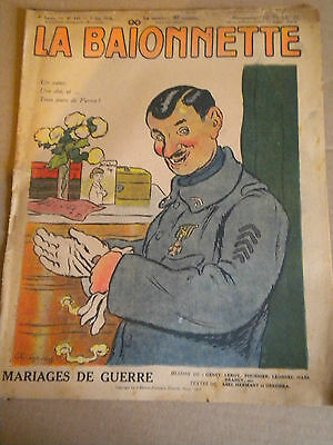 La Baionnette WW1 French Satire No149 9 MAY 1918 war marriages