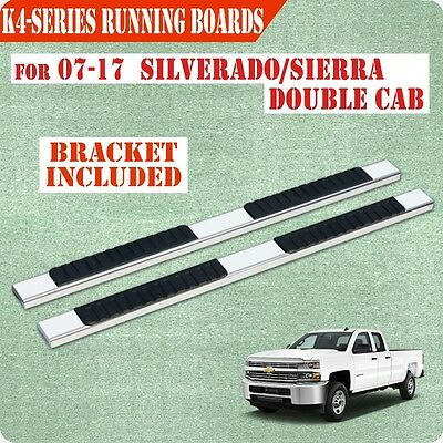 """Fit 07-17 Chevry Silverado Double Cab 4"""" Running Board Nerf Bar Side Step S/S"""