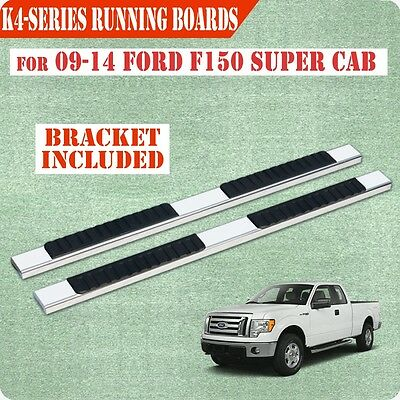 """Fit 09-14 Ford F150 Super Cab 4""""Running Board Nerf Bar Side Step Stainless Steel"""