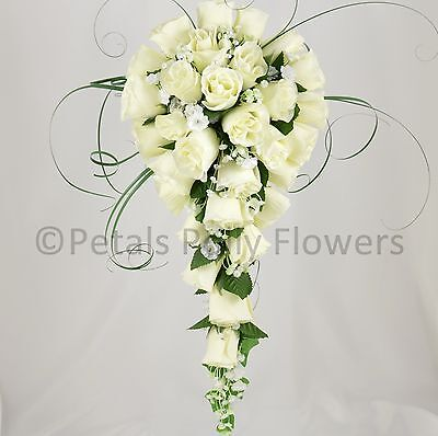Artificial Wedding Flowers by Petals Polly BRIDES BOUQUET POSY CREAM IVORY ROSE