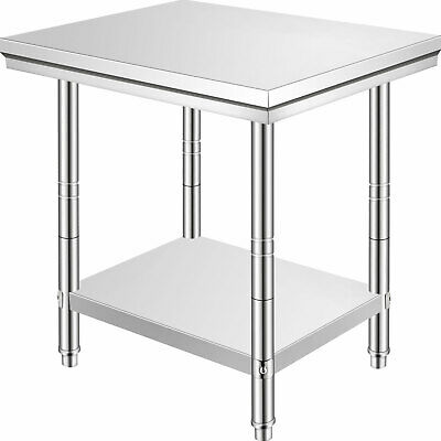New 762x610mm Stainless Steel Work Bench Kitchen Prep Catering Table Commercial