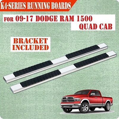 """Fit 09-17 Dodge Quad Cab 4"""" Running Board Nerf Bar Side Step Stainless Steel"""