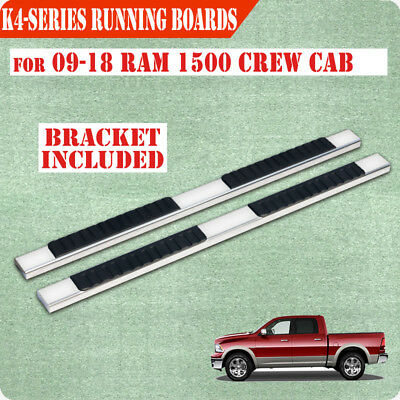 """Fit 09-17 Dodge Crew Cab 4"""" Running Board Nerf Bar Side Step Stainless Steel"""