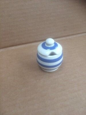 Vintage Retro Blue and White Stripe Mustard Preserve Pot with Lid