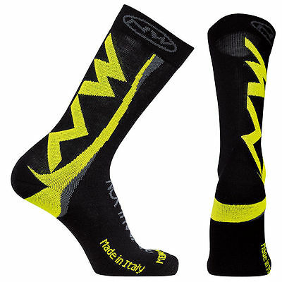 Northwave Mens Extreme Winter High Socks - Black/Fluorescent Yellow - Cycling
