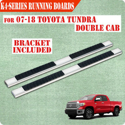 """Fit 07-17 Toyota Tundra Double Cab 4"""" Running Board Nerf Bar Side Step Chrome"""