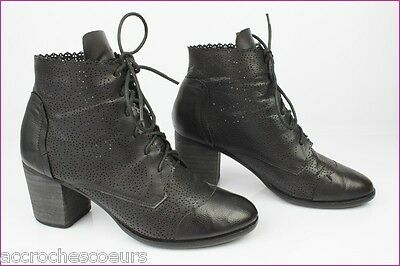 BOOTS BOOTIES LACE TAMARIS Black Leather T 40 VERY GOOD