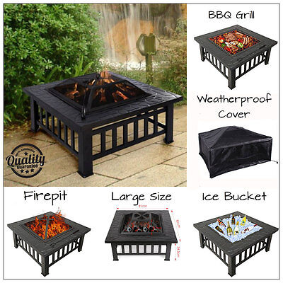 3 In 1 Black Fire pit Brazier Garden Heater BBQ Grill Fire Pit Table Log Burner