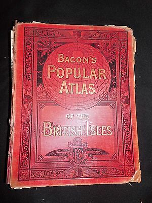 Bacon's Popular Atlas of The British Isles 1909 72 Maps & Plans, Flags, Diagrams