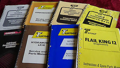 Turner reach & tractor mowers service & parts manuals & Caltex lubricant book.