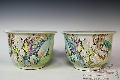Famille Rose Pair Beautiful Chinese Porcelain Immortals Flowers Pots