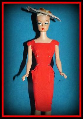 Vtg #986 Barbie Doll Outfit Red Sheath Sensation Dress Straw Hat Floppy 1961-64