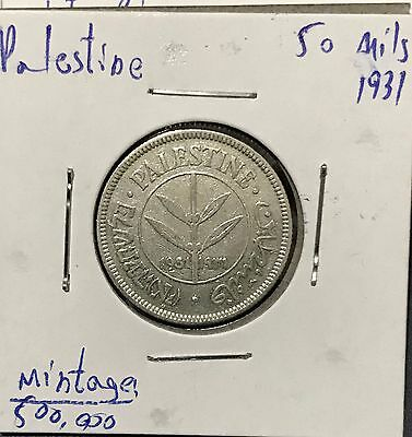 Palestine 50 Mils British Mandate Coin Year 1931 Made Of Silver 720.