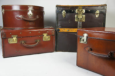 Stunning Special Vintage Leather Hatbox Suitcase By John Pound London