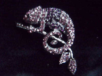 Beautiful diamante chameleon brooch, lizard