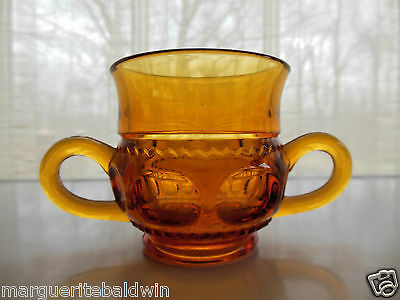 Indiana Glass Amber Kings Crown Open Sugar Bowl