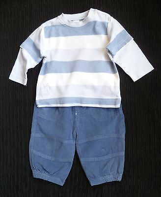 Baby clothes BOY 3-6m outfit mid-blue corded trousers/NEXT stripe long sleev top