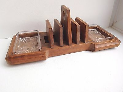 Unusual Art deco wood Toast rack with 2 glass dishes made in England well made