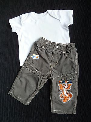 Baby clothes BOY 3-6m outfit lined Disney Tigger brown trousers/cream/white top