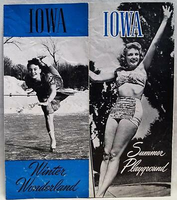 STATE OF IOWA SOUVENIR ADVERTISING TOURISM BROCHURE GUIDE 1950s VINTAGE