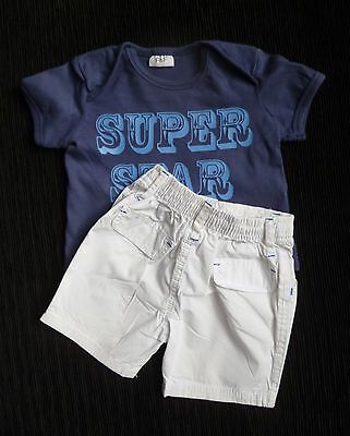 Baby clothes BOY 3-6m outfit white,blue shorts/navy blue, blue short sleeve top