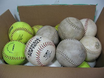 """Lot of 18 mixed DUDLEY WORTH practice shag softballs 11"""" 12"""" new used"""