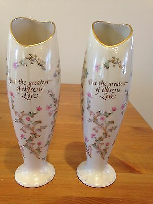 Pair Of Valentine's Lenox Vases From 1980's, Heart Shaped Mouth In Gold Trim