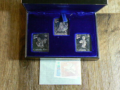 Canada Lot Of 3 Silver Stamps, 1976 Olympics Set With Original Box #5011