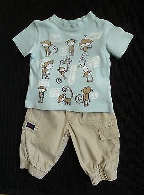 Baby clothes BOY 3-6m outfit NEXT fun monkey t-shirt aqua, beige lined trousers