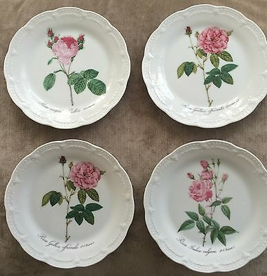 Hutschenreuther Victoria 4 Pc Botanical Roses By P Redoute.