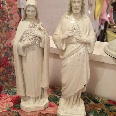 Vintage French Our Lady and  Joseph statues catholic figures
