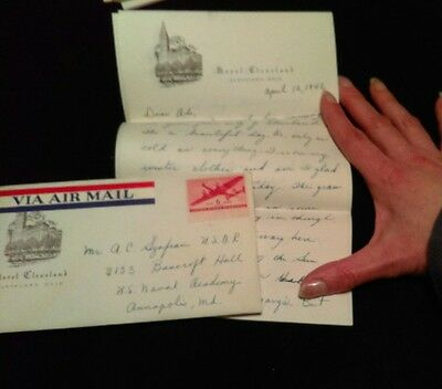 1942 Cleveland HOTEL PAPER LETTER OH Cover Via Airmail Annapolis MD Duvendeck