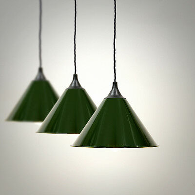 Vintage Army Military Lamp Shade, Industrial Pendant Light + LED FILAMENT BULB!