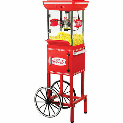 NEW! Coca Cola Popcorn Machine w/ Storage Cart Theater Style Kettle Popper Stand