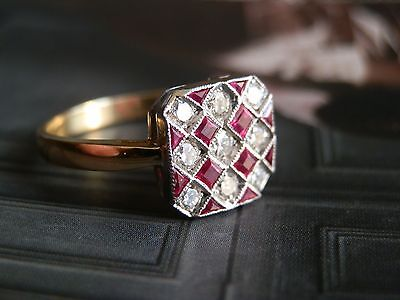 splendide bague or 18k style art déco damier rubis diamants++++
