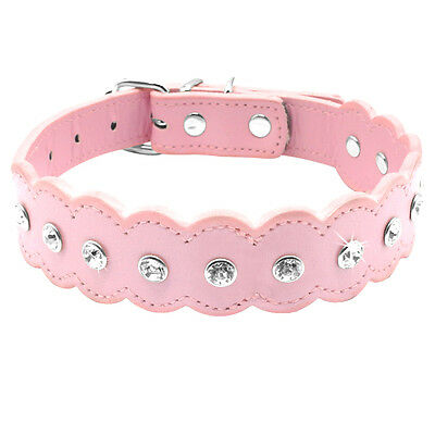 10-12'' Pink Rhinestone PU Leather Dog Collars Bling for Small Dog Chihuahua