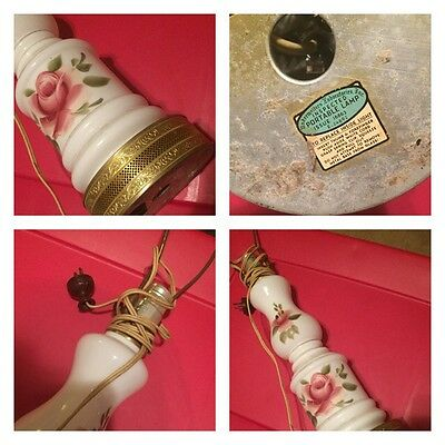 Milk Glass Lamp Hand Painted Roses Gold Accents Vintage Westinghouse