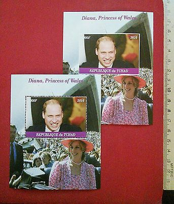 new Princess of Wales Diana and Prince William 2016 CHAD collectable stamps GIFT