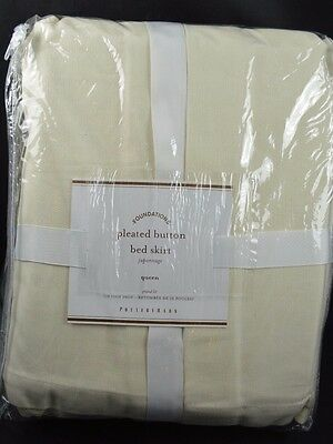 """Pottery Barn Pleated Button Bed Skirt Ivory Brushed Canvas Queen 18"""" Drop"""