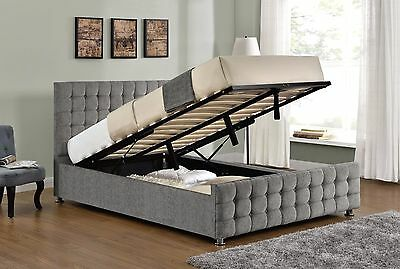 Ottoman Storage Bed Frame Double King Size Silver Velvet Chenille and Mattress