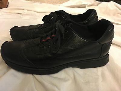 GUCCI Men's Fashion Casual Shoes BLACK Leather Lace Up Sneakers Size 9.5