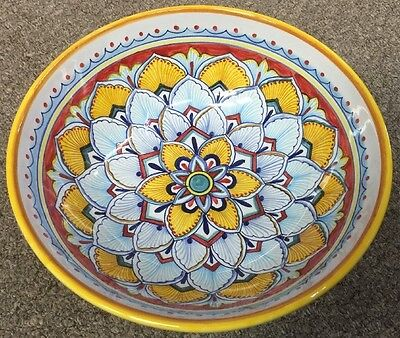 Deruta Pottery-10inch Bowl Geometric Pattern made/painted byhand-Italy.