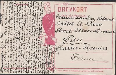 DENMARK  Old postcard  On the theme of the Danish factor RODKIDE TO PAU 1911