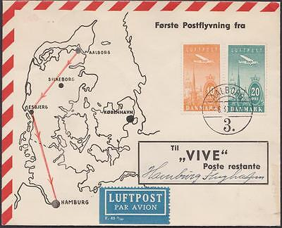 DANEMARK air mail Obliteration AALBORG    TO HAMBURG  YEAR 1938