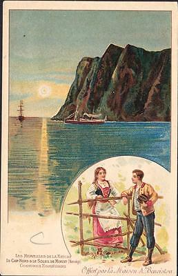 NORWAY  Old postcard  The northern cape under the midnight sun