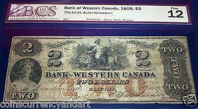 1859 bank Of western canada $2 -Scarce banknote and denomination