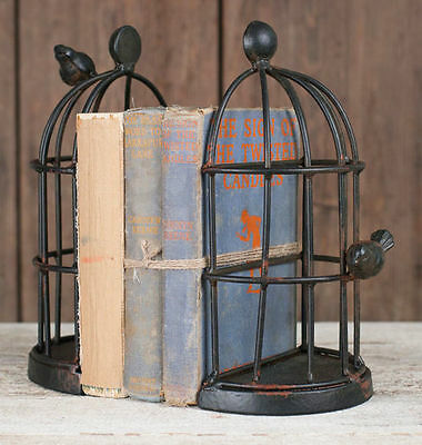 New Vintage Inspired Wire Bird Cage Bookends Pair Cast Iron Metal