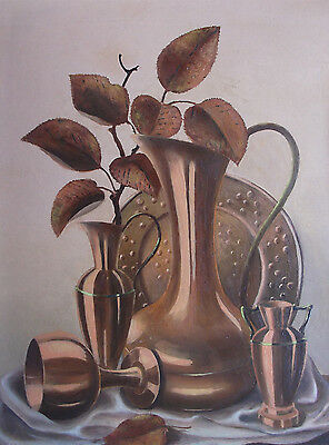 Original Still Life Oil Painting 'Copper' by Midland Artist Harry Tunstall 1980