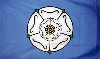 YORKSHIRE WHITE ROSE BLUE FLAG 5 X 3 LARGE GREAT QUALITY FLAG Polyester NEW