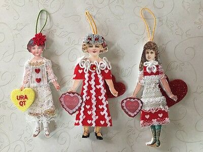 Lot of 3 Handcrafted Victorian Style Paper Doll VALENTINE Girl Heart Ornaments